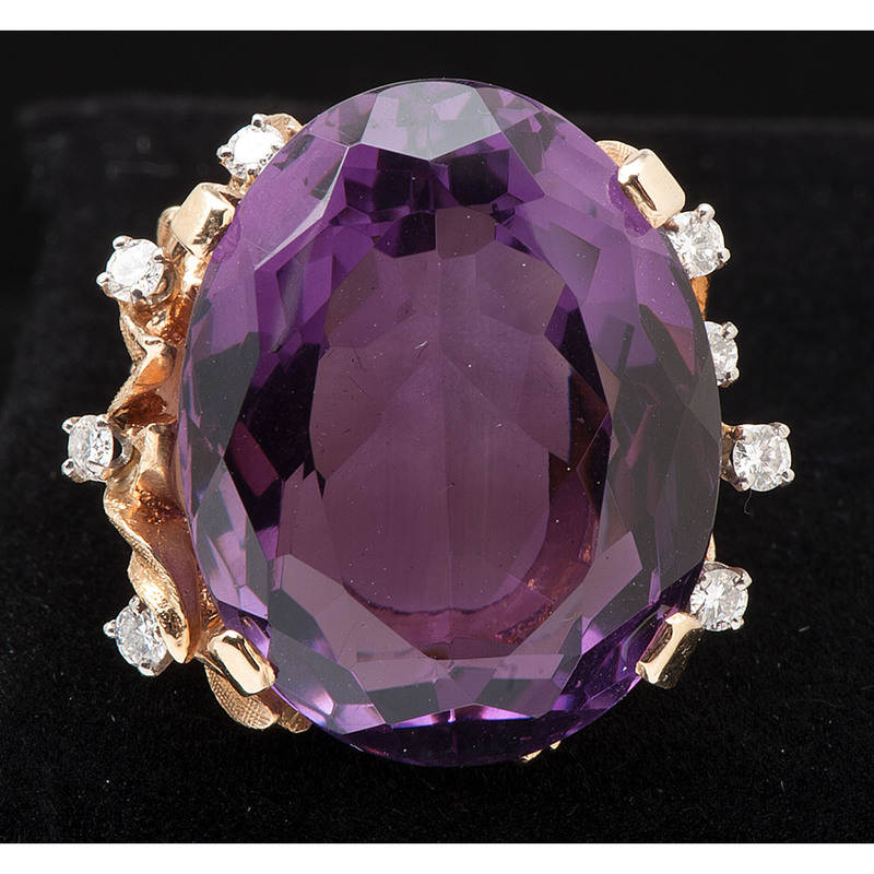 14k Yellow Gold Amethyst Cocktail Ring