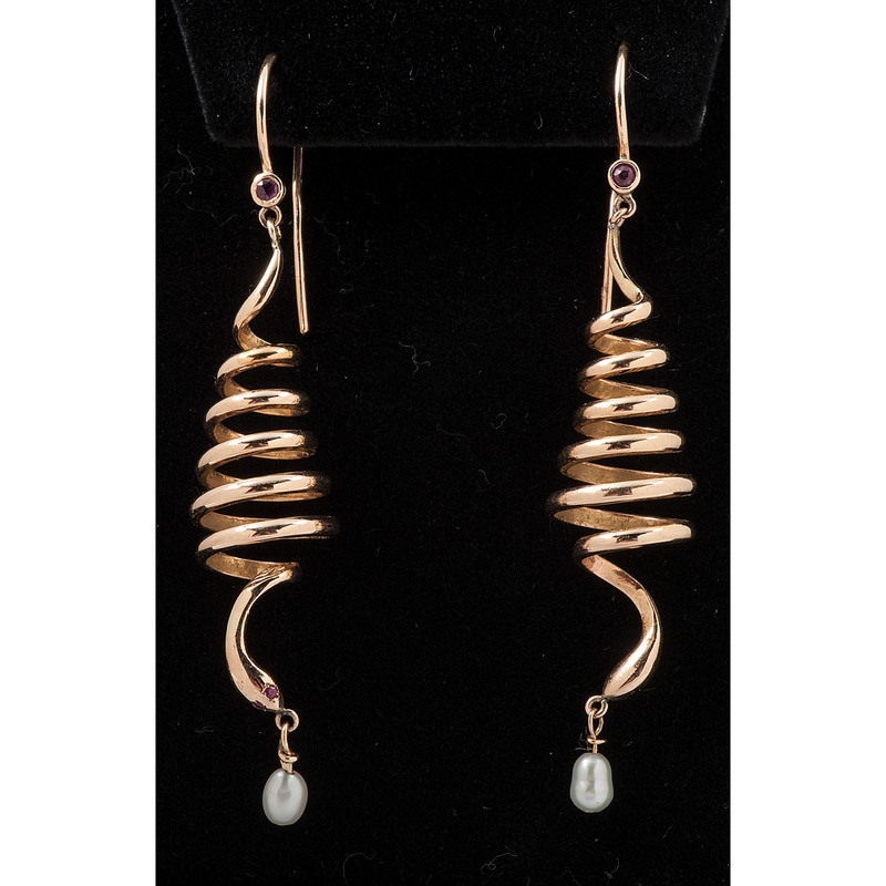 14k Rose Gold Snake Earrings