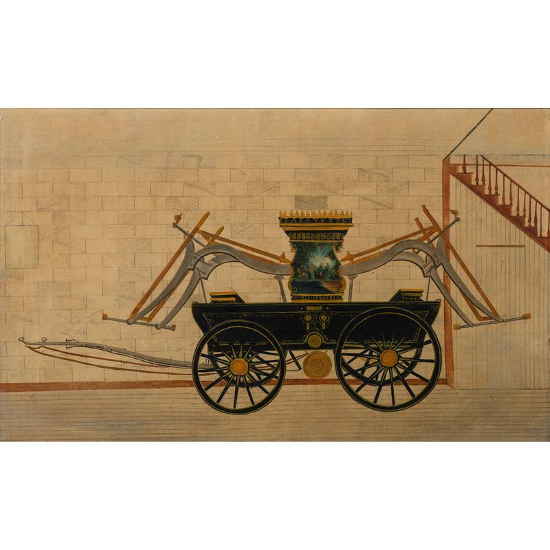 Firefighting Artwork, Featuring Oil Painting of Lafayette Fire Pump, Plus Patriotic Scene