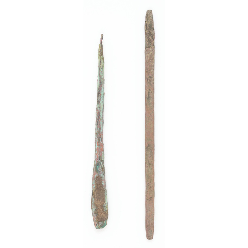 A Pair of Old Copper Culture Awls / Pins, From the Collection of Roger