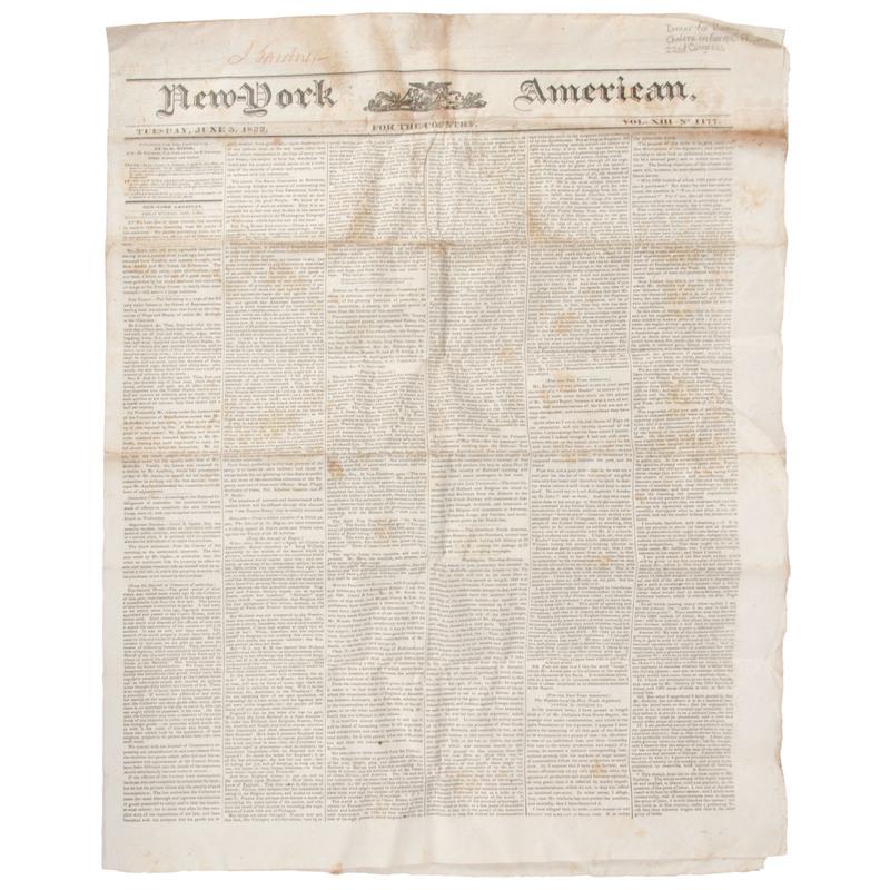 [Americana - Newspapers]  New-York American, 1832 Run of Newspapers