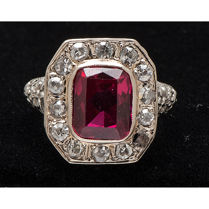 14k White Gold Synthetic Ruby and Diamond Ring
