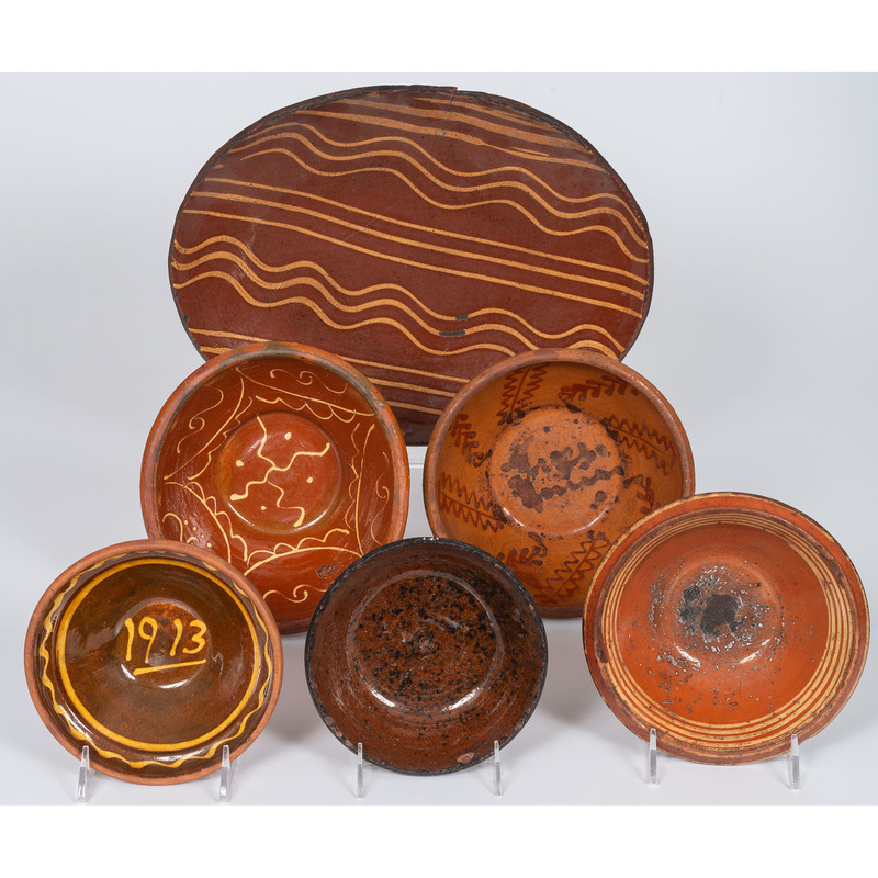 Redware Pottery Bowls and Platter