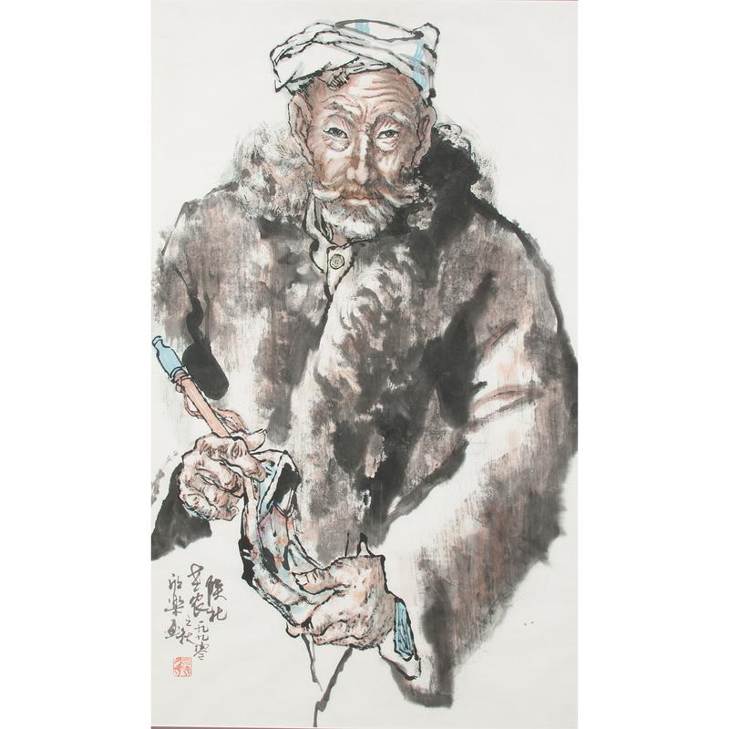 Ma Xinle (Chinese, b. 1963) 馬欣樂 陝北老農 紙本水墨