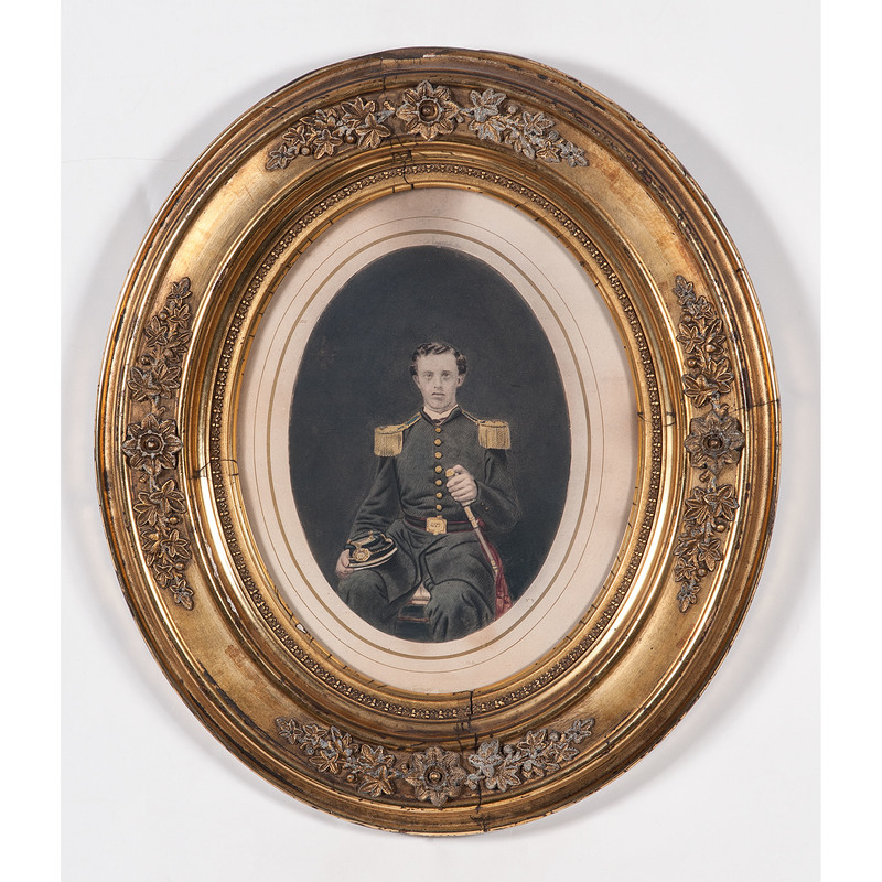 Civil War Salted Paper Photograph of a New York Volunteer in Original Gilt Frame
