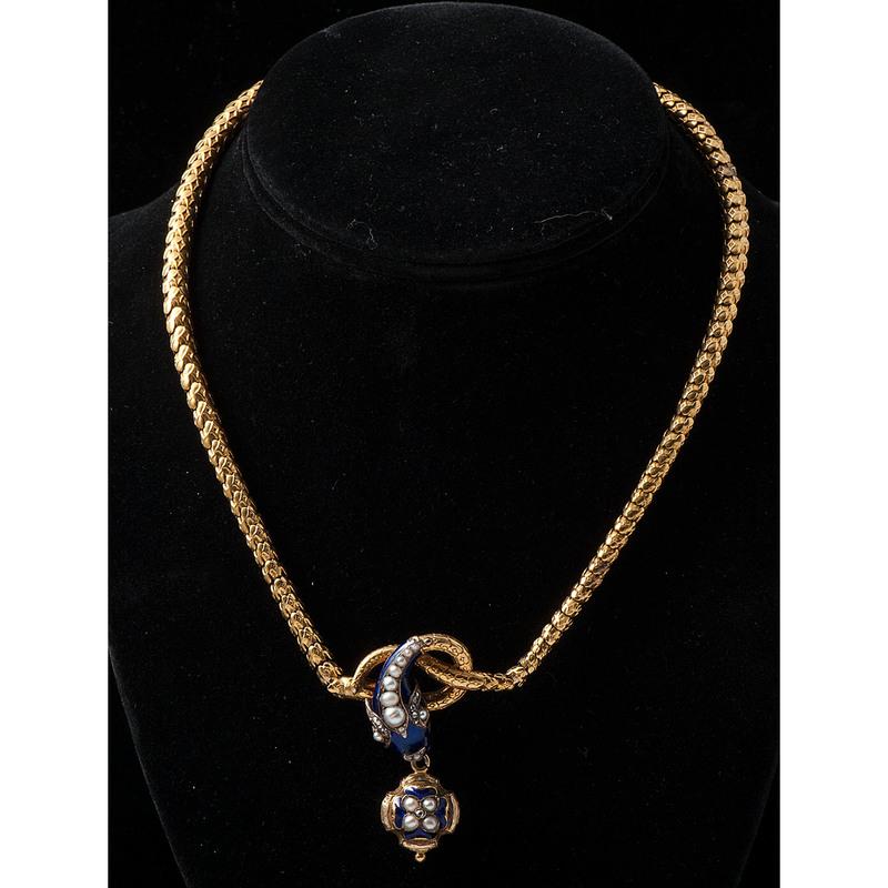 18k Gold Victorian Serpent Necklace