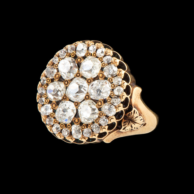 18k Gold Old Mine Cut Diamond Ring