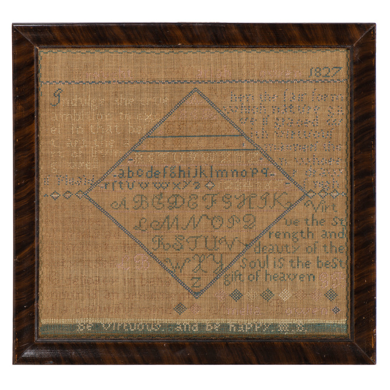 Connecticut Sampler by Mariah Bowen, Dated 1827