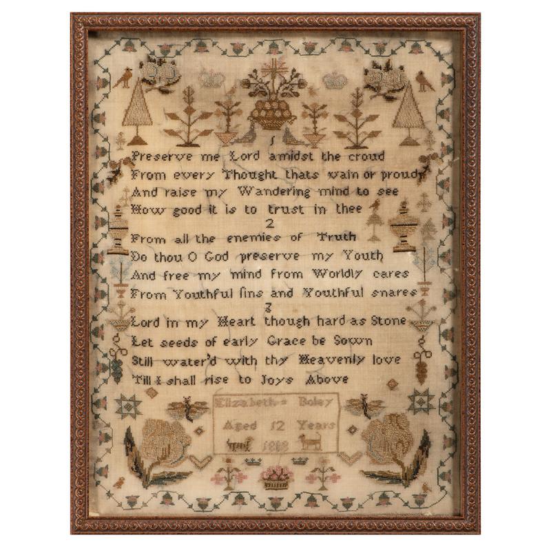 English Sampler by Elizabeth Boley, Dated 1808