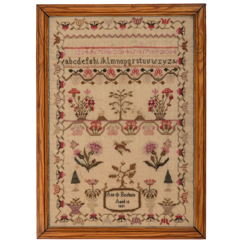 English Sampler by Ann Beeham, Dated 1831