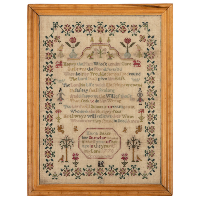 English Sampler Signed by Maria Baker, Dated 1778
