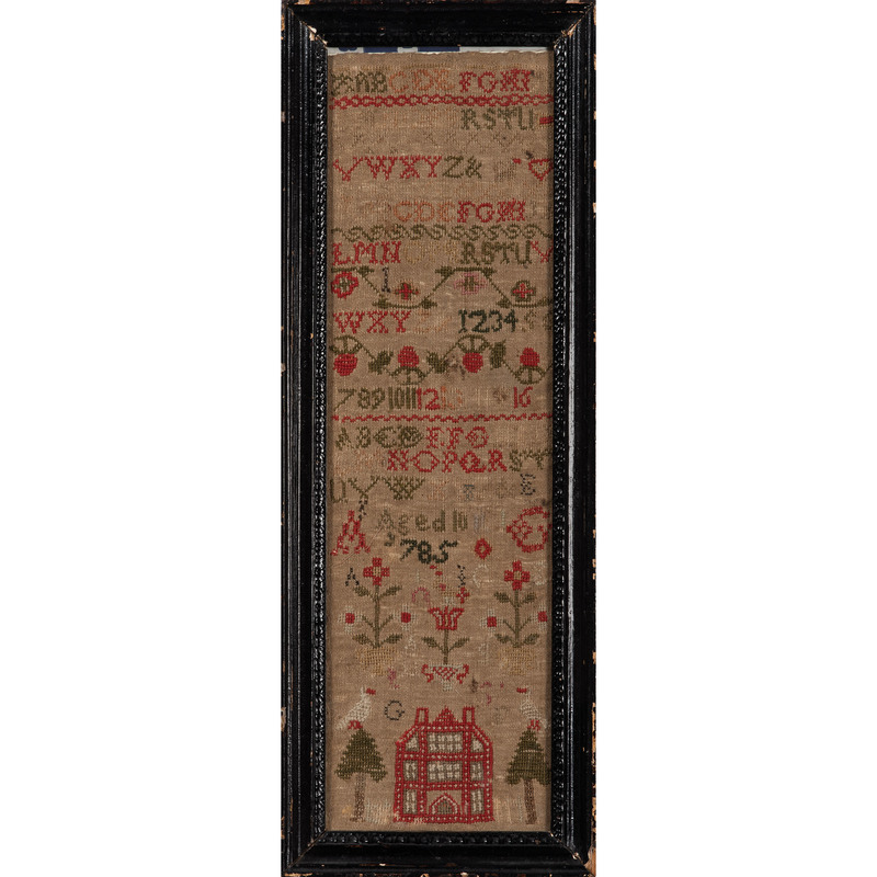 English Sampler with House and Tree Decoration, Dated 1785