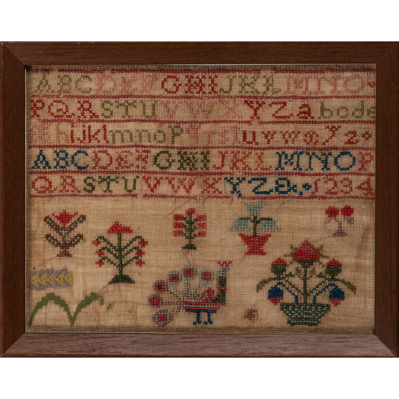 Three Alphabet Samplers, One with Peacock