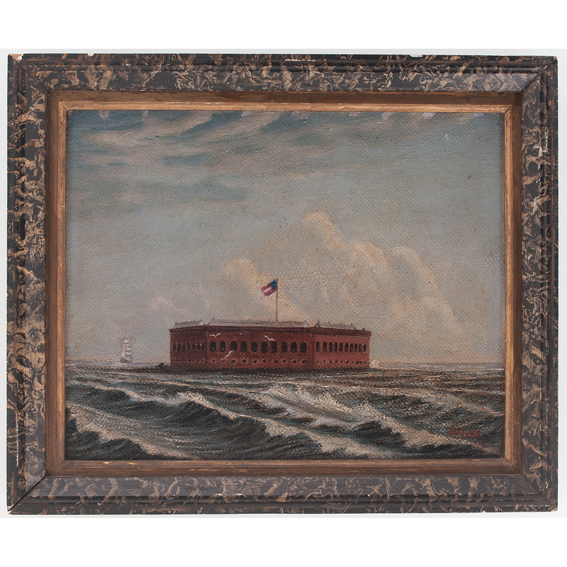 """Oil on Board, """"Fort Sumter Flying First National Confederate Flag"""""""