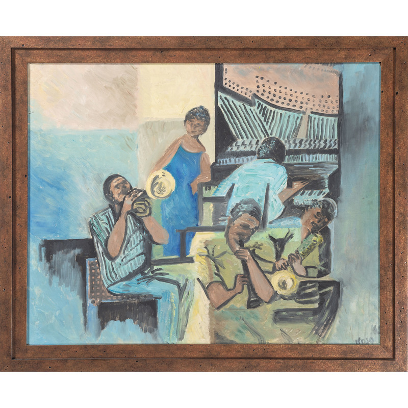 Painting of Musicians, Signed Koso