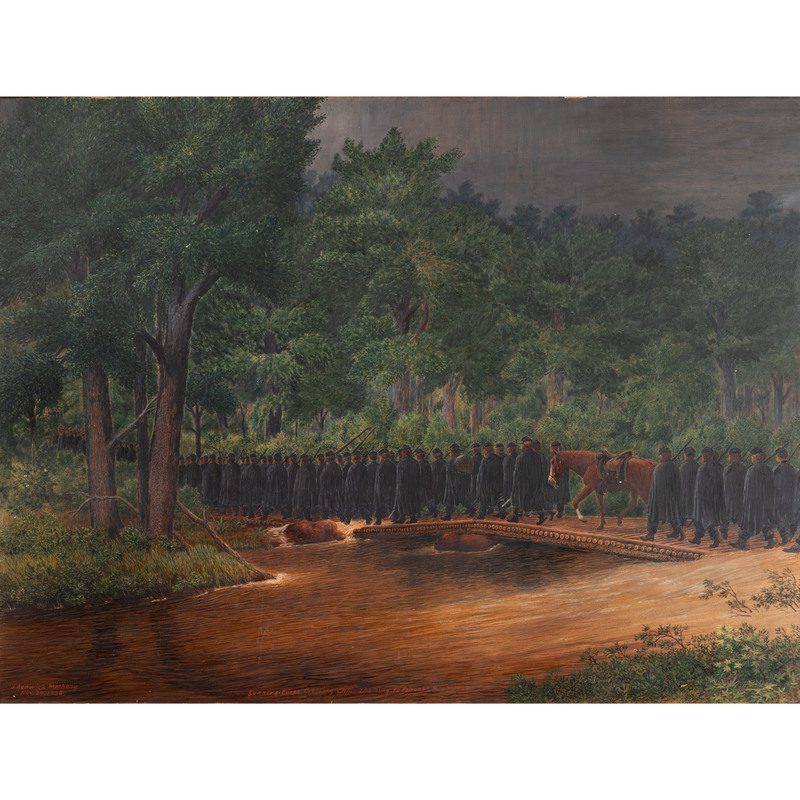 John Renwick Metheny, Civil War Oil Painting, Sumner's Corps Crossing Chickahominy to Fair Oaks