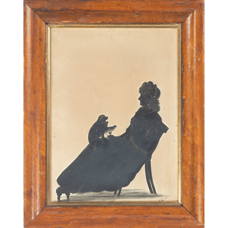 Silhouette of a Lady with Dog