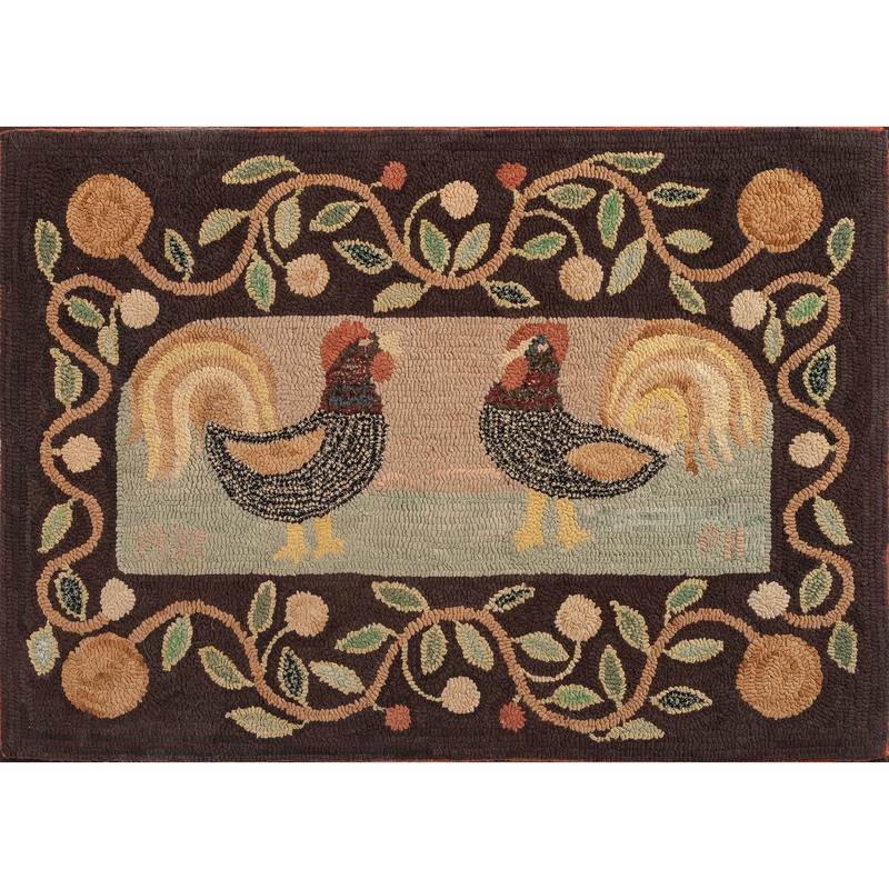 Hooked Rug with Roosters