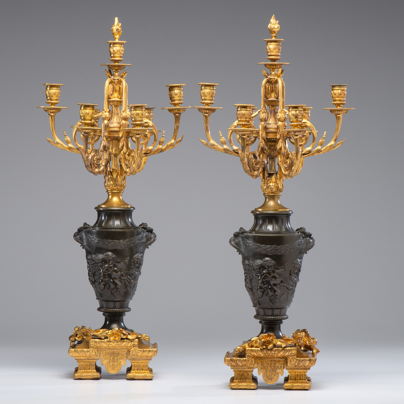 Susse Frères Brass Six-Light Candelabra