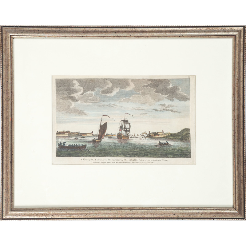 A View of the Entrance of the Harbor of the Havana, Hand-Colored Engraving