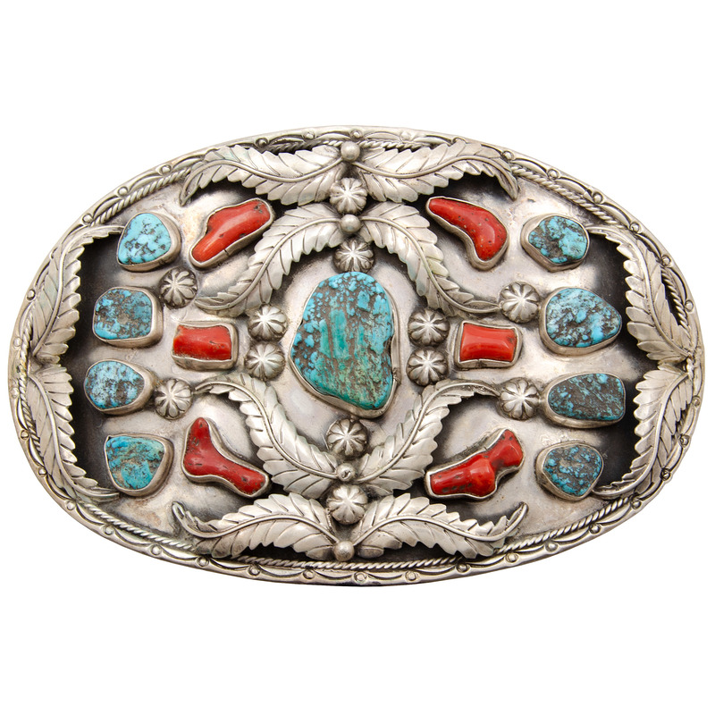 Jerry Roan (Dine, 20th century) Large Navajo Silver, Turquoise, and Coral Belt Buckle
