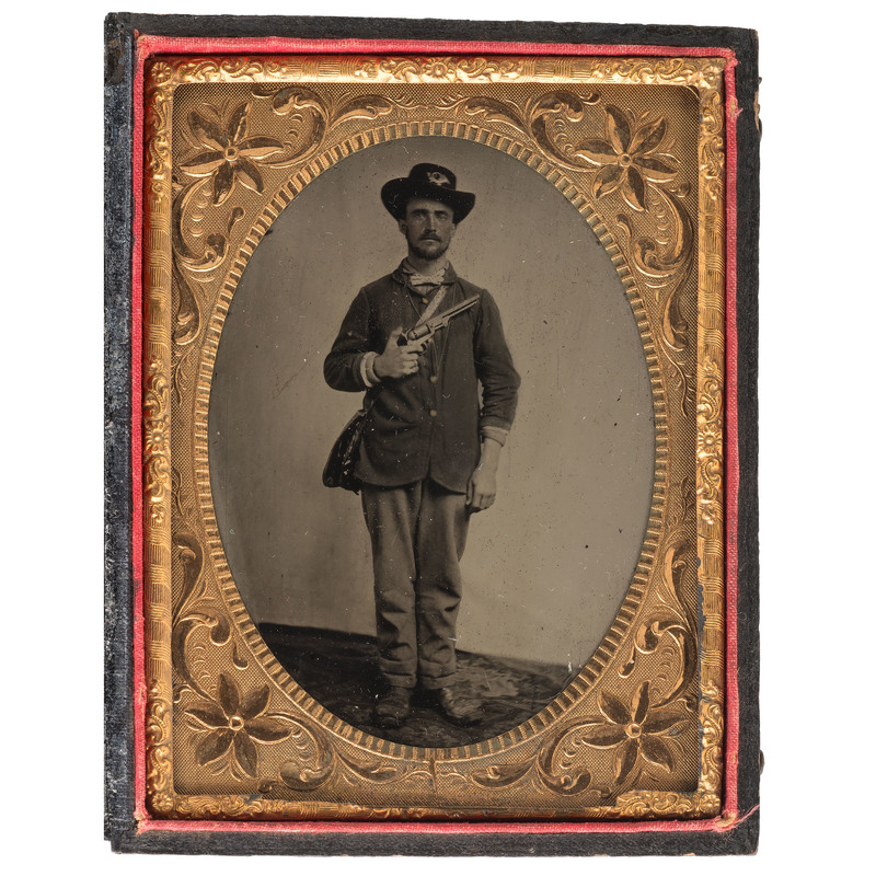 Quarter Plate Tintype of Union Private Holding a Colt Navy Pistol