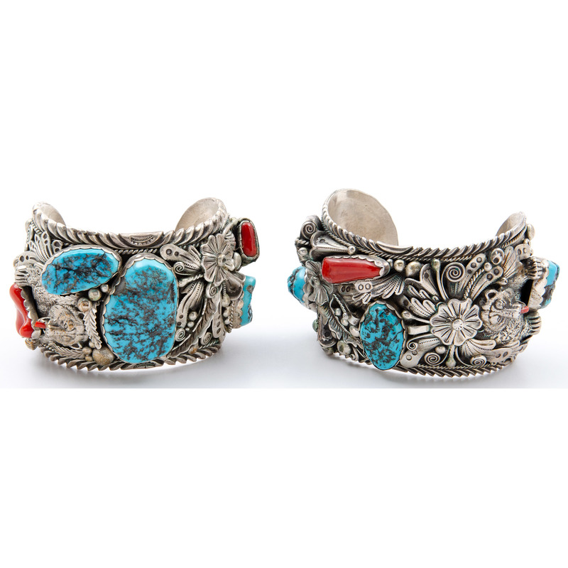 Pair of Silver, Turquoise, and Coral Cuff Bracelets with Bear Motif