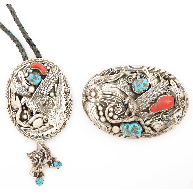 Silver, Turquoise, and Coral  Belt Buckle and Bolo Tie with Eagle and Snake Motif