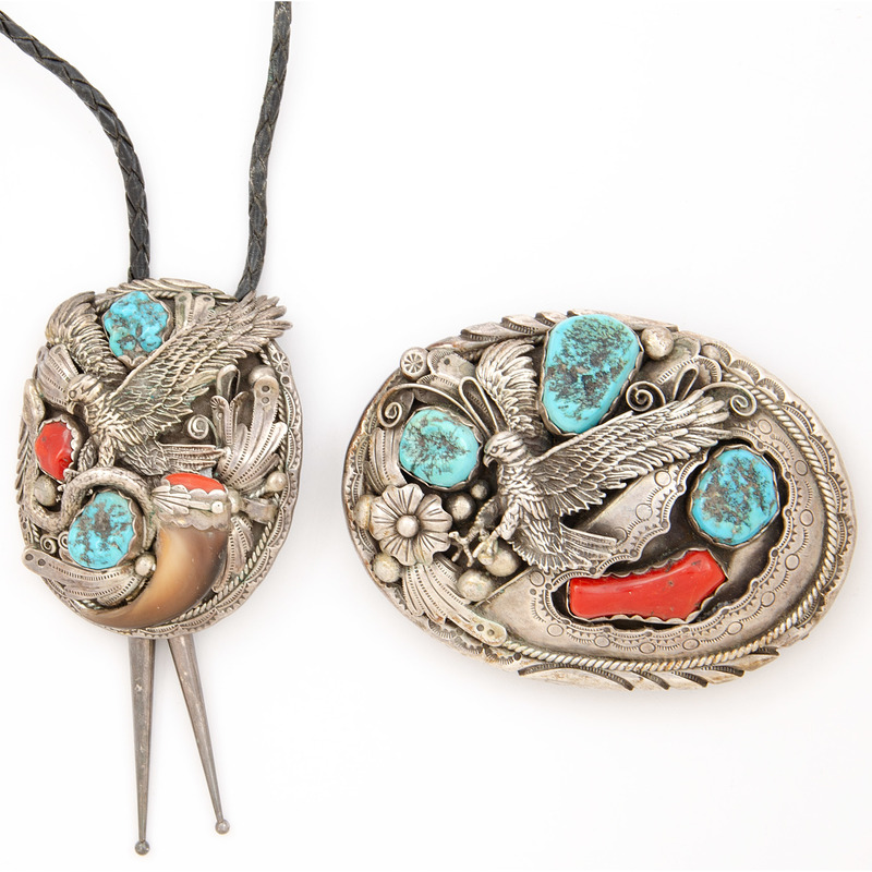 Silver, Turquoise, Coral, and Claw Belt Buckle and Slide