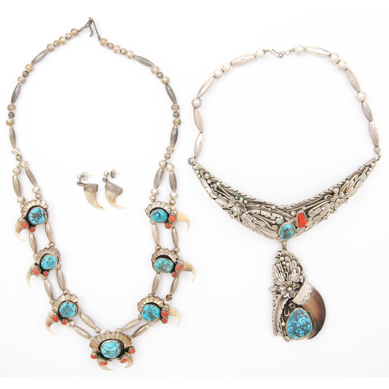 Silver Necklaces with Turquoise, Coral, and Claw