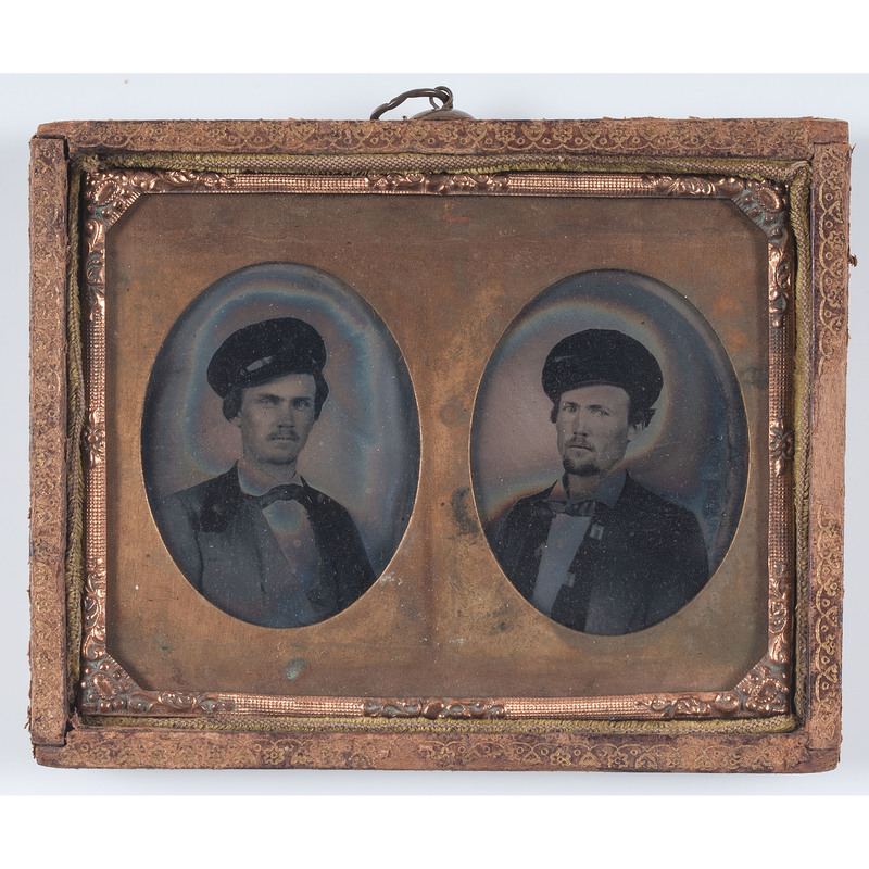 Civil War Ninth Plate Ambrotypes of Identified Soldiers Wearing Wheel Hats