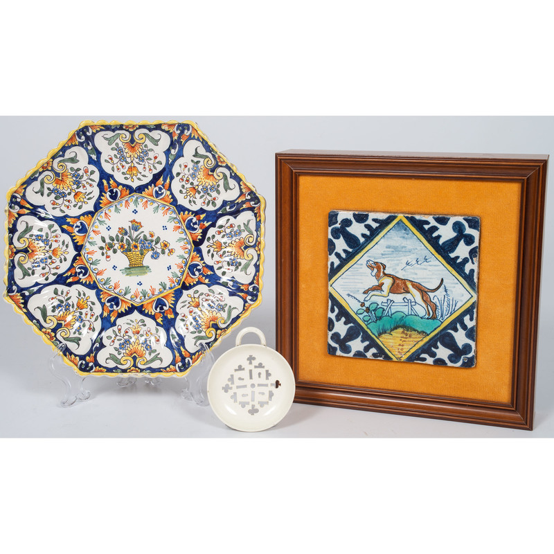 Dutch Tile, French Faience Scalloped Plate, and Creamware Strainer