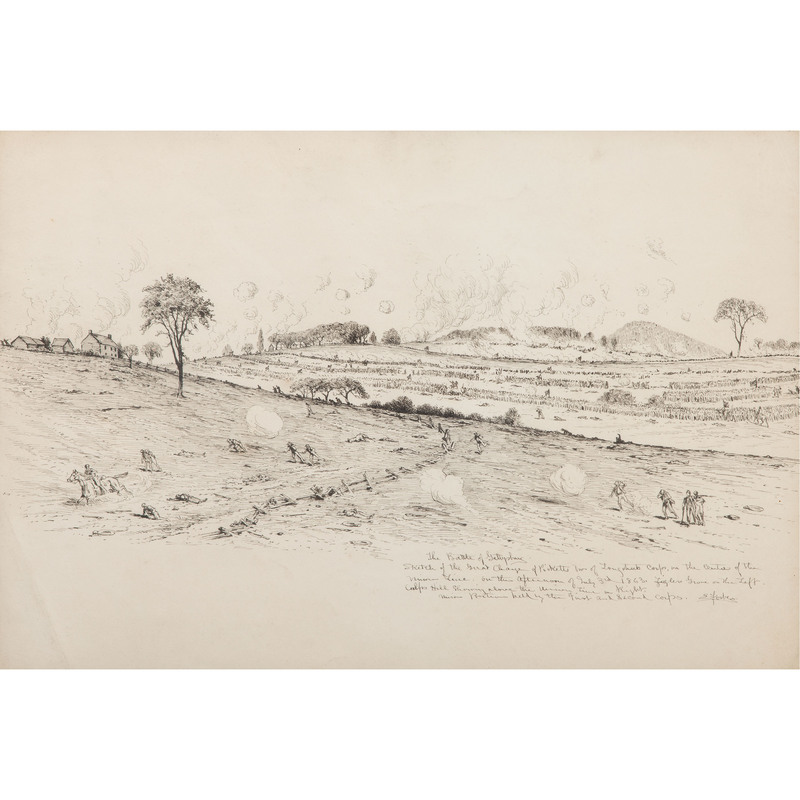 Edwin Forbes, Pen and Ink Sketch Depicting Pickett's Charge at the Battle of Gettysburg