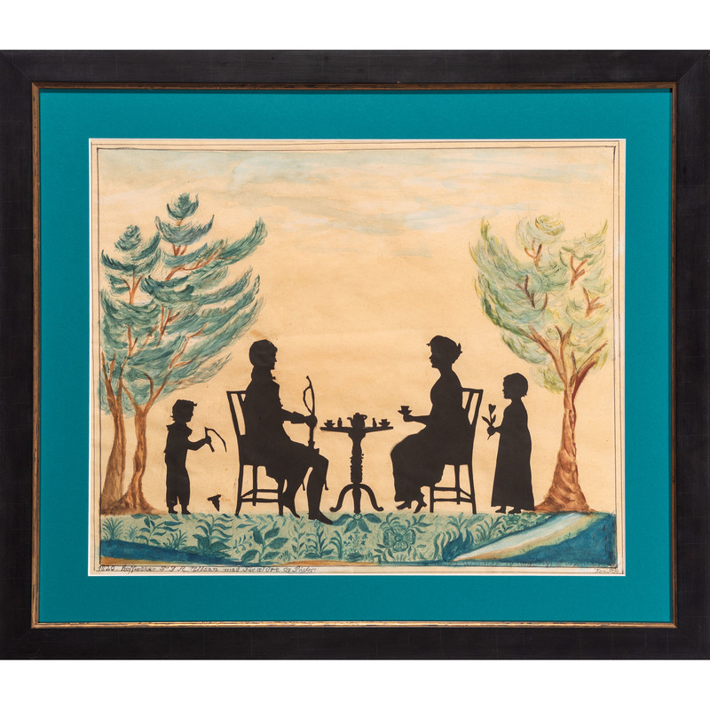 Cut Paper and Watercolor Silhouette of a Family