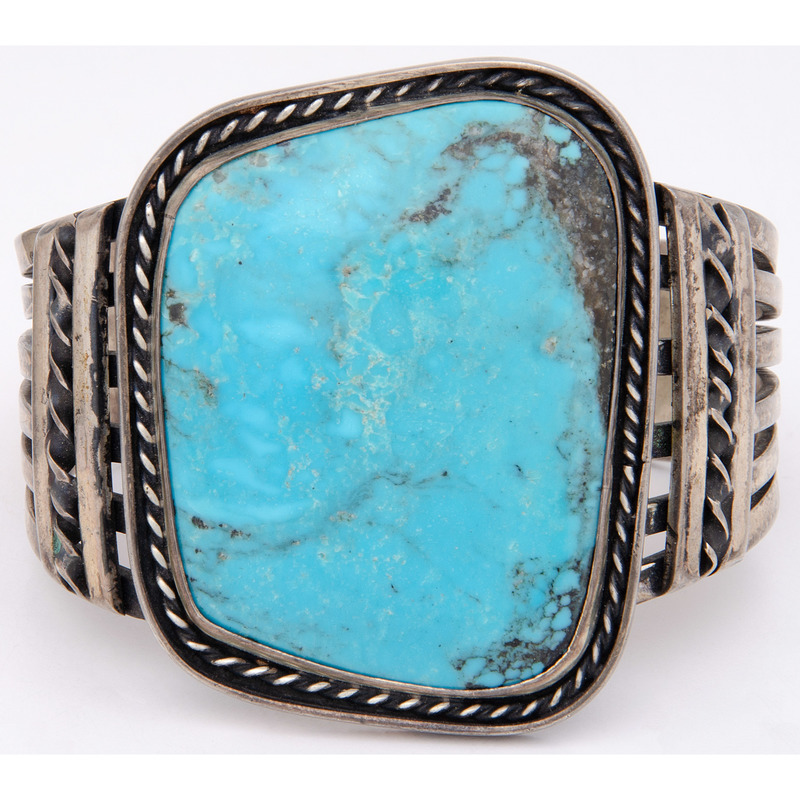 Large Navajo Turquoise and Silver Cuff Bracelet
