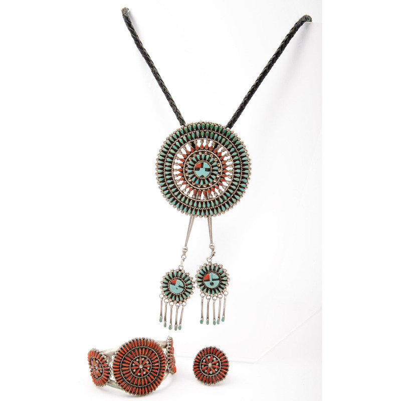 Benjamin Tzuni, Jr. (Zuni, 20th century) Turquoise and Coral Petit Point Bolo Tie PLUS
