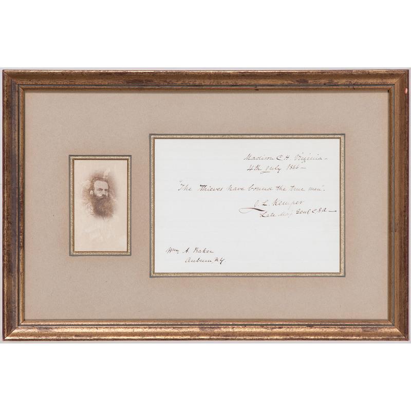 J.L. Kemper Signed Document & CDV