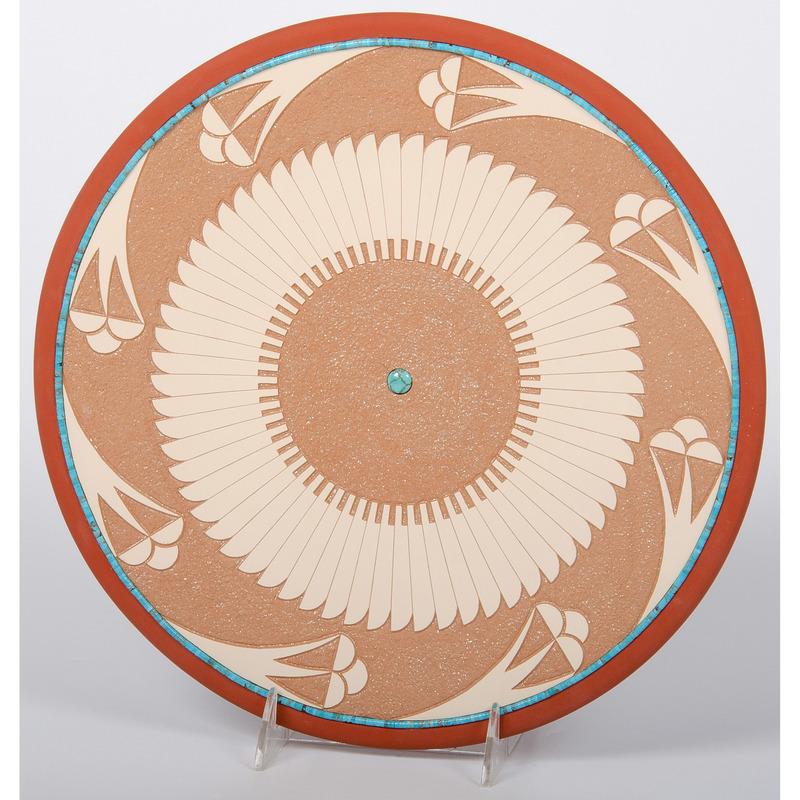John Gonzales (San Ildefonso, b. 1955) Polychrome Pottery Plate