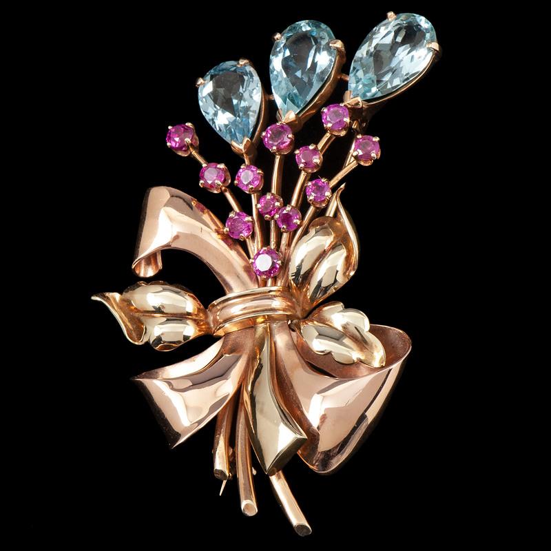 Retro Bicolor 14k Gold Tiffany & Co. Brooch