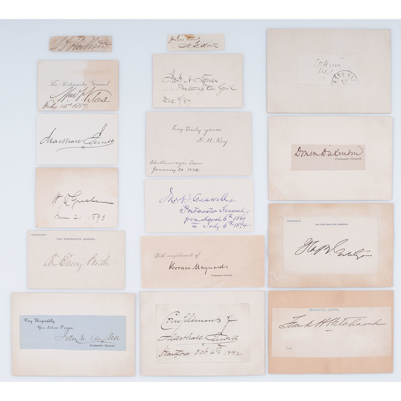 Collection of 37 Signatures of US Postmasters General (USPMG), Mostly 19th century