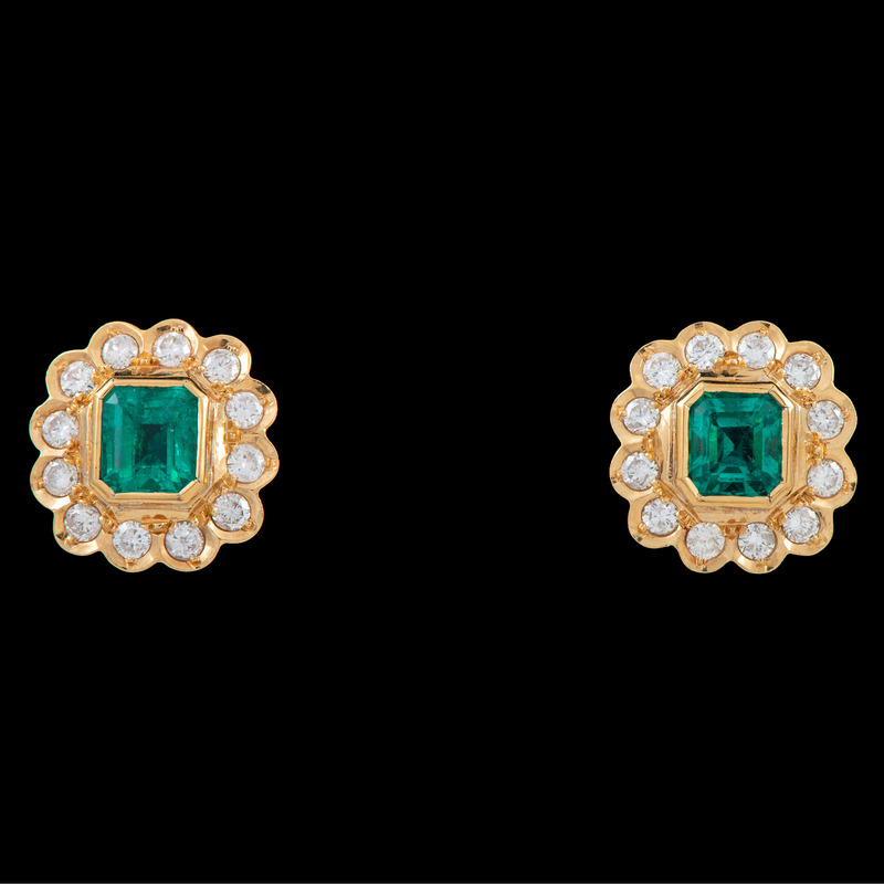 18k Gold Colombian Emerald Earrings With GIA Certificate
