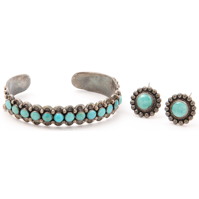Zuni Turquoise and Silver Cuff Bracelet and Earrings