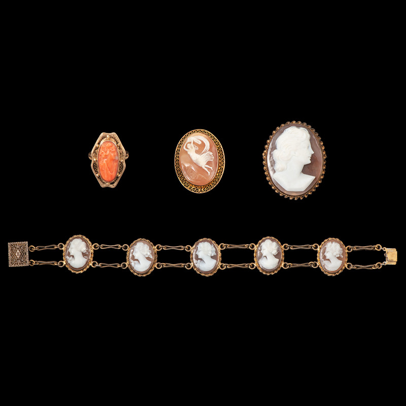 10k Gold Cameo Brooch and Ring PLUS