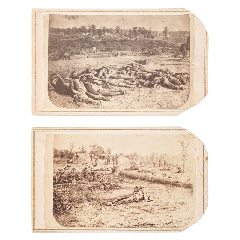 Confederate Dead Outside Battery Robinett, Corinth, Mississippi, Two Rare CDVs