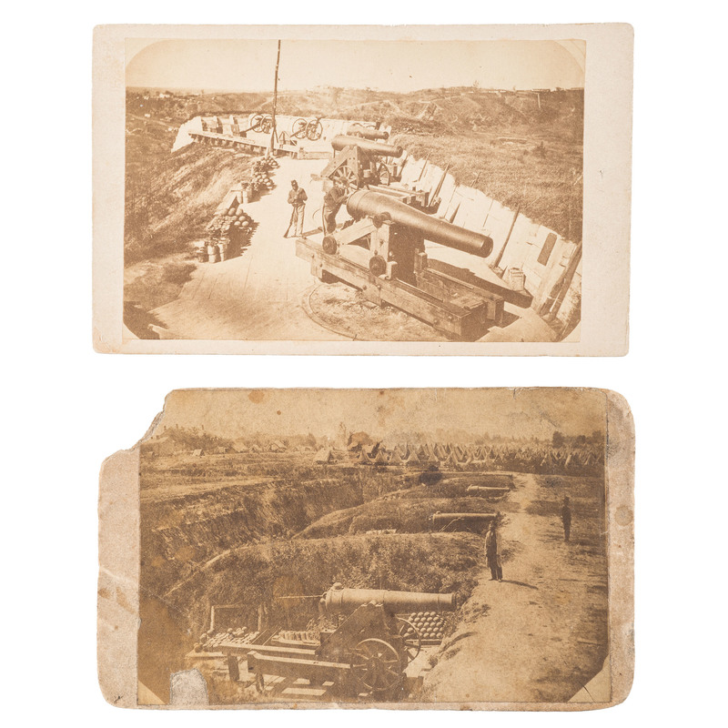 Two Civil War CDVs of Union and Confederate Batteries at Vicksburg, MS