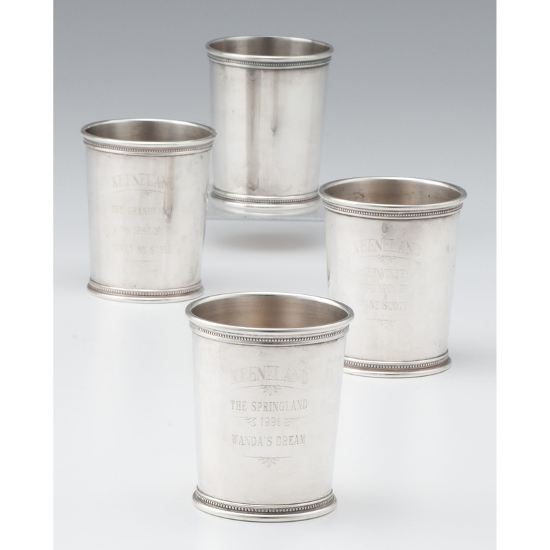 Mark J. Scearce Sterling Julep Cups, Including Keeneland Trophies