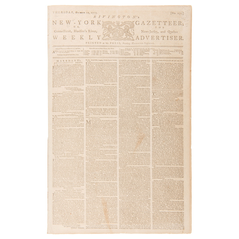Early Coverage of the Revolutionary War Reported in Rivington's New-York Gazetteer, October 1775
