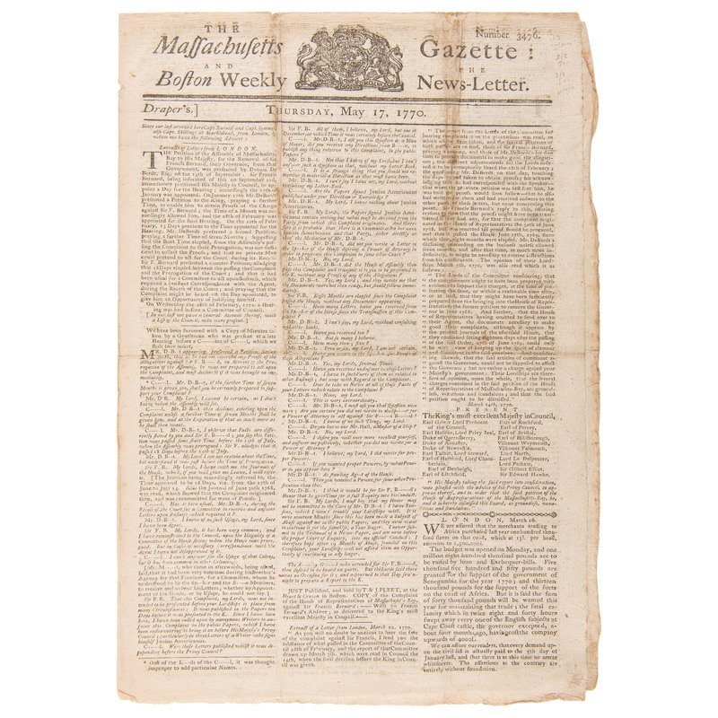 Pre-Revolutionary War Events Covered in the Massachusetts Gazette and the Boston Weekly News-Letter, 1770