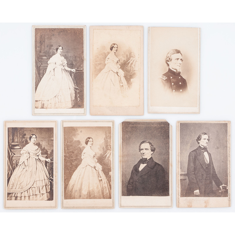 CSA President Jefferson Davis and First Lady Varina Davis, Lot of Seven CDVs