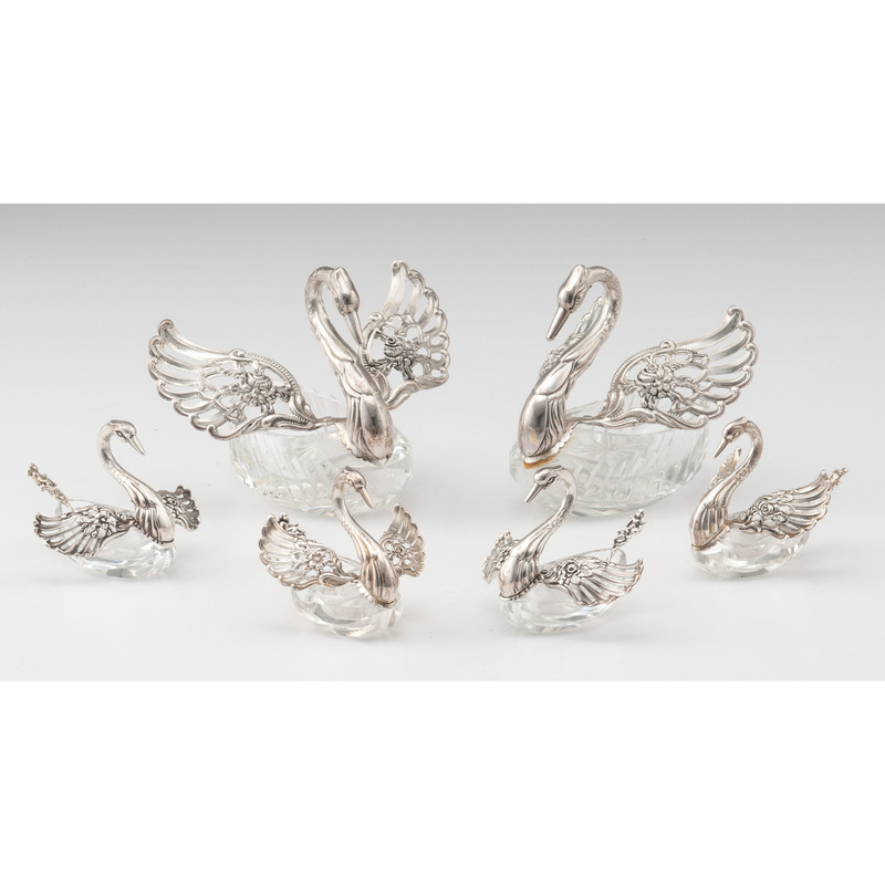 German Sterling and Glass Swan Salts